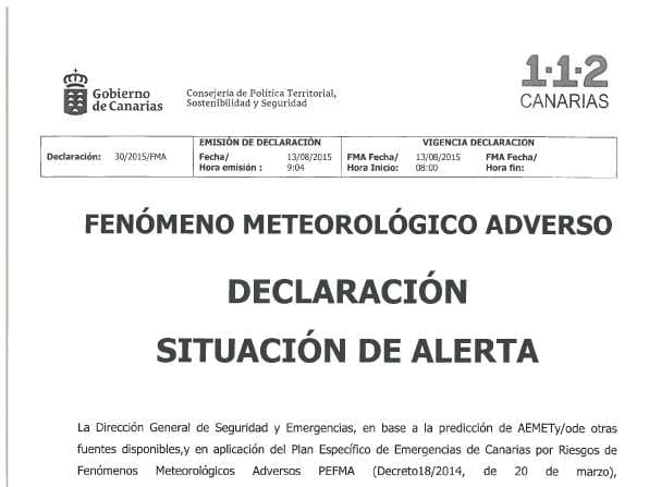 Declarada la alerta por lluvia en Tenerife, La Palma y Gran Canaria